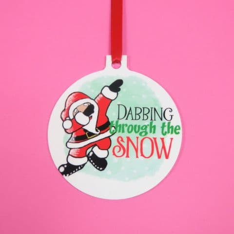 Dabbing through the snow santa decoration dabbing santa Bauble Father Xmas Christmas Funny Dec