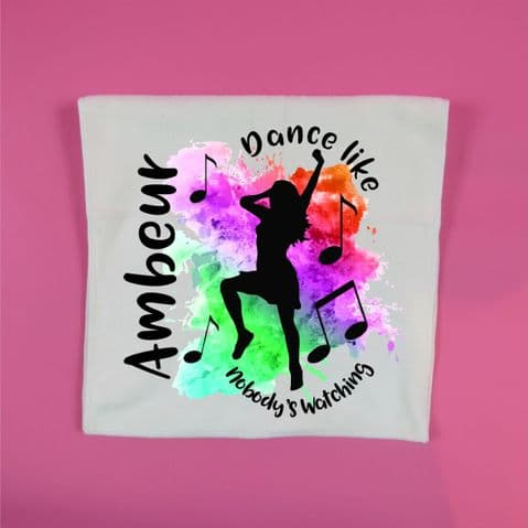 Dance like nobody's watching personalised dance towel colour splash gym glass workout towel 30 x 60