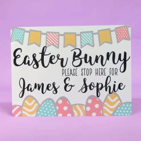 Easter Bunny Sign | Please stop here | Personalised Easter Gift | Easter Keepsake | egg hunt sign