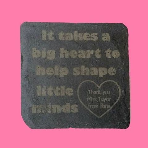 End of Term Thank You Present Gift Slate Coaster Engraved Primary Teacher Big Heart Shape Little