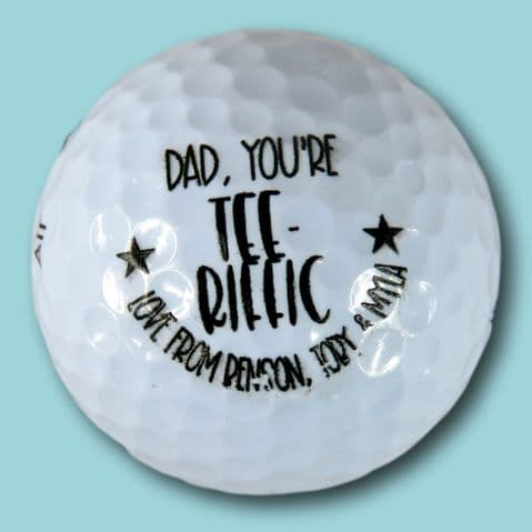 Father's day golf ball | personalised golf ball | dad you're tee-riffic ball | golf joke gift | golf