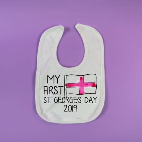 First St Georges Day Bib Babies 1st Saint Georges Day bib England Gift English Present New Born