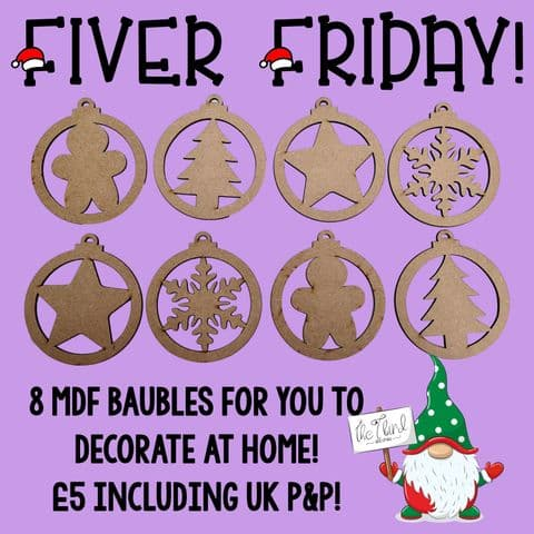 FIVER FRIDAY!!! Plain Wooden MDF Bauble Shapes for Decoration - 8 in a pack.