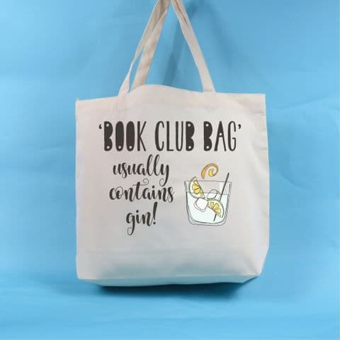 Gin Gift, Book club tote bag, book club, usually contains gin, Gin lover, gin and tonic, funny gift