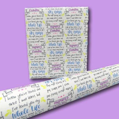 Grandma gift wrap | loved whole life wrapping paper | nice grandma wrap | granny gift wrap | cute