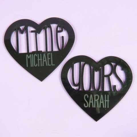 Heart Coaster Set Personalised Yours Mine Black Acrylic wedding mr and mrs present gift his and hers