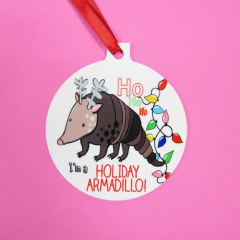 Holiday Armadillo Decoration Bauble Friends Festive Armadillo I love Armadillos Armadillo Santa