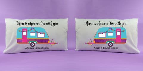 Home is wherever i'm with you pillow cases personalised pillowcases caravan gift campervan