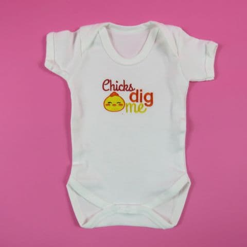 Chicks Dig me easter baby vest easter Chick Embroidered vest Easter sleep suit 1st easter gift
