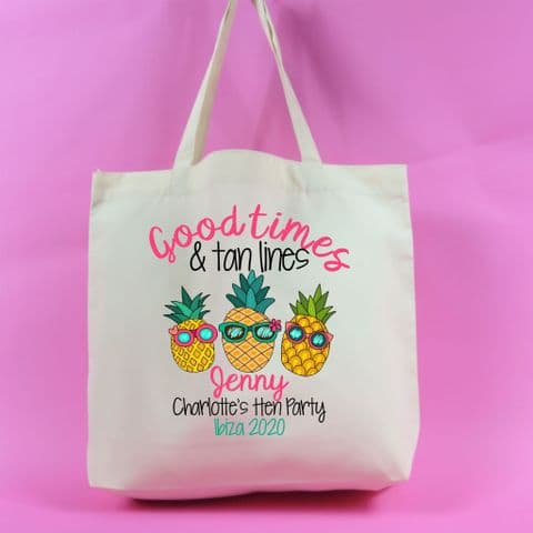 Good times and tan lines hen party bag girls holiday bachelorette fun hen weekend kit bag tote bag