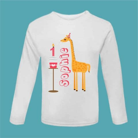 It's My Birthday Giraffe Cake T Shirt Birthday Outfit First Birthday T Shirt Long Sleeved Cake Smash