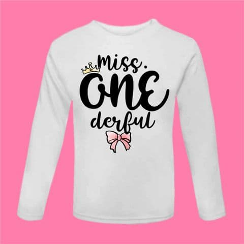 Miss One derful First Birthday t Shirt Wonderful Miss. Onederful Tee 1st Bday Cake Smash Outfit