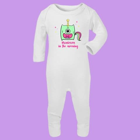 Monicorn in The Morning Romper Suit Grumpy Romper Monster Sleepsuit Morning Person Unicorn Monster