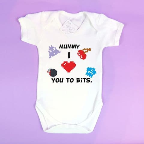 Mummy i love you to bits~Gamer baby vest~Computer baby vest~Newborn bay vest~