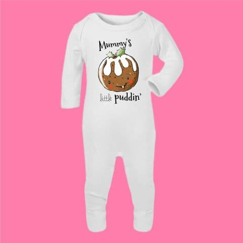 Mummys Little Puddin Romper Suit Christmas Jumper Christmas Present Xmas Gift Xmas Rustic Pudding