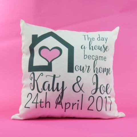 New house Cushion ~ the day a house became our home ~ New home present ~ First house gift