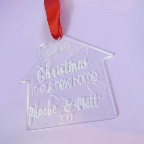 Our First Christmas in our New Home – Personalised House Xmas Tree Decoration Hanging Engraved Keeps