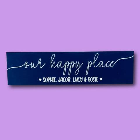 Our happy place sign | personalised happy place | new home gift | family sign | first home plaque