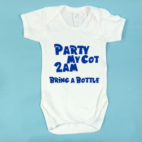 Party at my Cot Bring A Bottle Baby Grow Vest bodysuit