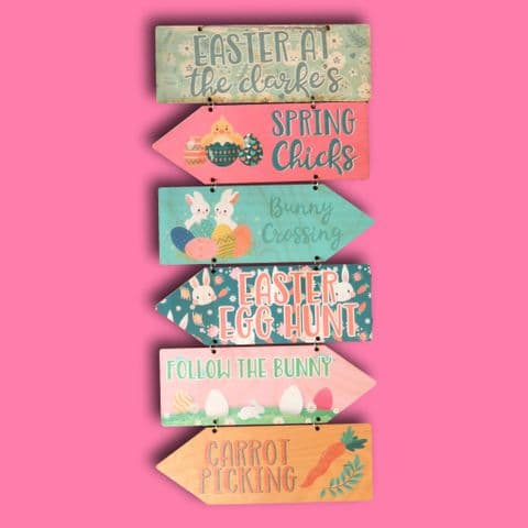 Personalised Arrow Easter Sign   Easter sign post   Personalised Easter Gift   Easter Keepsake