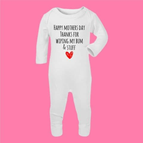 Personalised Baby Romper/Onesie/Sleepsuit | Thanks for Wiping my Bum | Mother's Day Gift