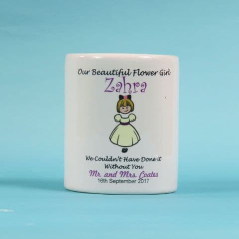 Personalised Flowergirl Favour Our beautiful flower girl money box wedding gift thank you present