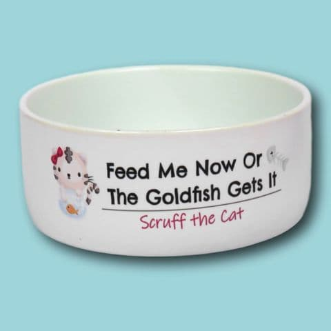 Personalised Funny cat Bowl | Feed me Goldfish gets it | group of cats | New kitten present | kitten