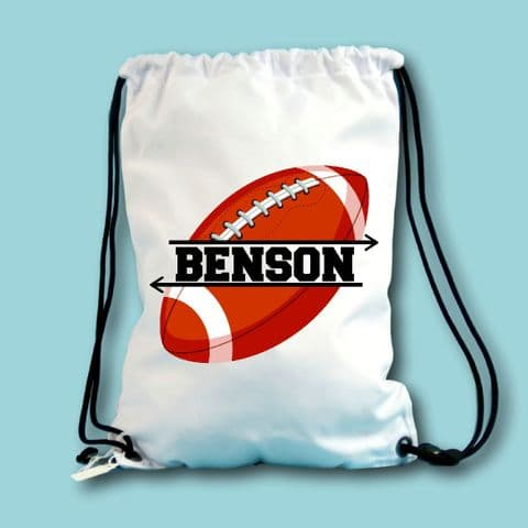 Personalised Rugby Drawstring bag Back to School sports Gift rugby Lover pe kit bag name bag sports
