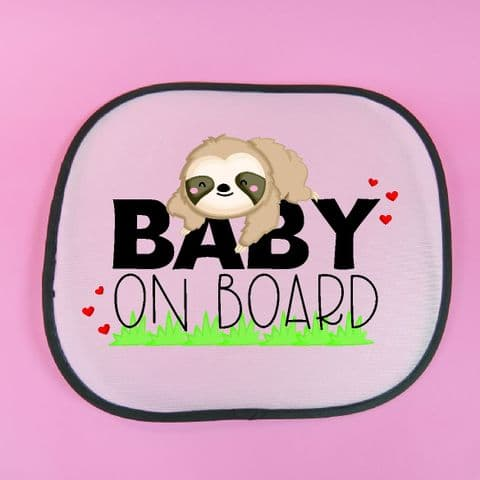 Personalised Sloth sunshade | newbaby gift | baby on board | sunshade for car | sun visor | Custom