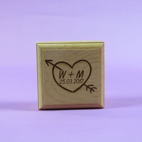 Personalised Square Wooden Heart Ring Box ~ Engagement Proposal Marriage ~ Laser Engraved ~