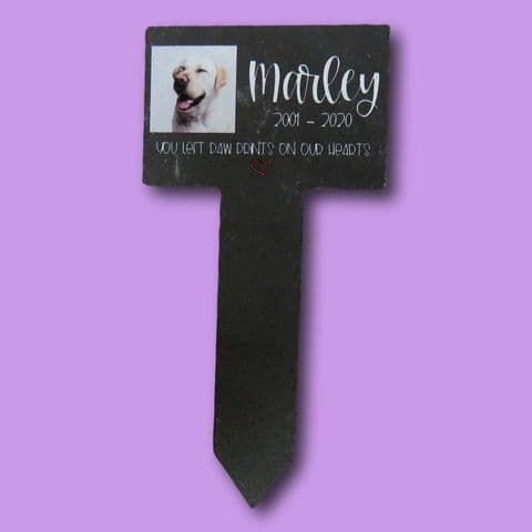 Personalised Stake Natural Slate Pet | Memorial Grave | Pet Photo | Pet Memorial | Marker Plaque