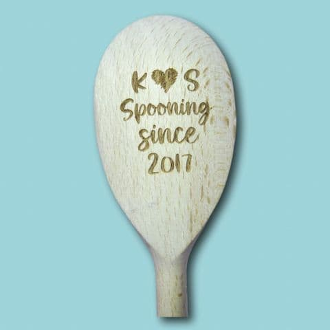 Personalised Wooden Spoon Engraved | Spooning Since | Anniversary Gift | Funny Wooden Spoon