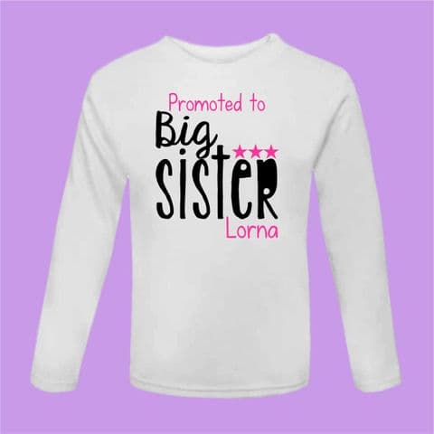 Promoted To Big Sister Tshirt Personalised Pregnancy Announcement Ideas Pregnancy Gift