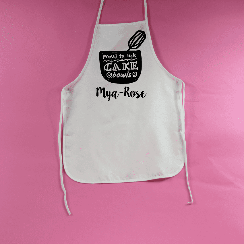 Proud to lick cake bowls childs apron personalised