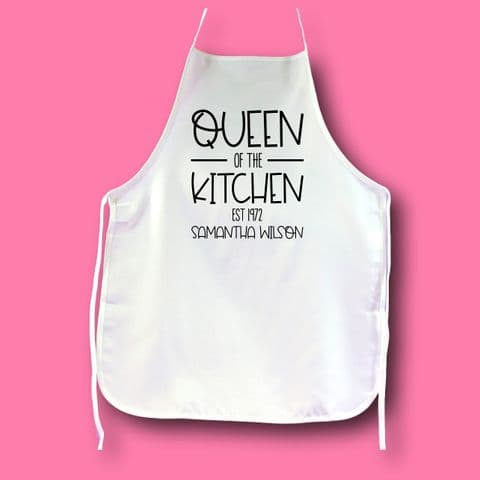 Queen of baking Apron | baker Apron | Personalised Baker Gift | Chef Gift | Foodie Gift  Cooking