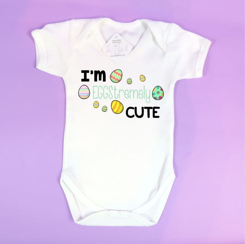 Easter Baby Vest Eggstremely cute extremely egg pun funny easter vest First Easter Present Easter