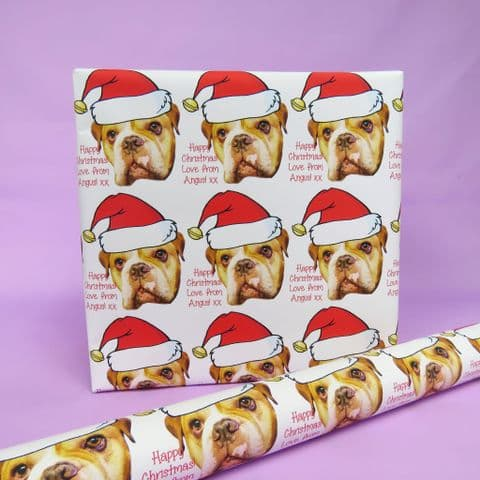 Santa Hat Dog Gift Wrap | Wrapping paper pet | Cat Wrap | Dog Wrap Photo Gift Wrap Funny Picture