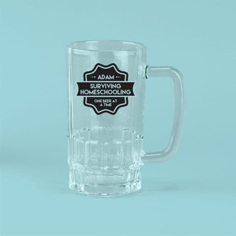 Surviving Home Schooling Beer Glass | one Beer at a time | Personalised Beer Glass | Lockdown Gift