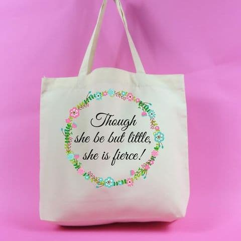 Though she be but little, she is fierce Large Shopping Tote Bag~Tote bag~ Shopping Bag