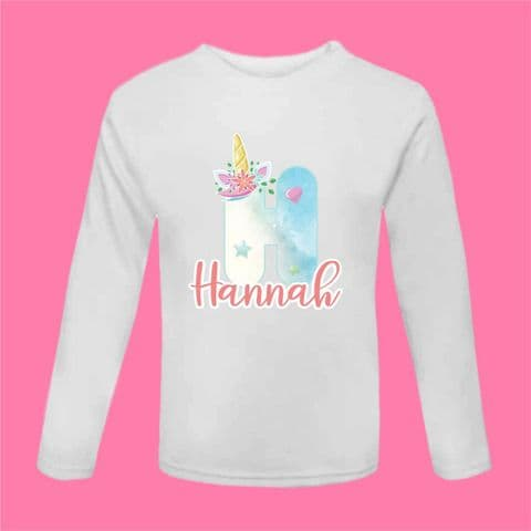 Unicorn Tshirt | Unicorn Letter Tee | Unicorn Long Sleeved Tshirt | Birthday Gift | Sibling Present