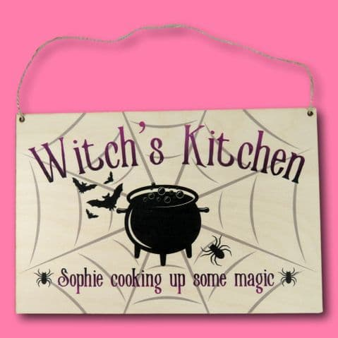 Witches Kitchen Sign | personalised witch pennant | Personalised halloween Keepsake | halloween sign