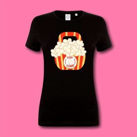 Womens Popcorn Kettlebell Tshirt Gym Tee Food Lover Present Gym Goer Gift Workout Shirt Gym Tee Fun