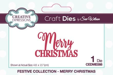 Mini Expressions - Merry  Christmas Craft Die by Sue Wilson