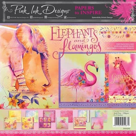 Pink Ink Designs - Elephants and Flamingos 8 in x 8 in Paper Pad