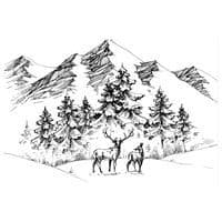 Two Jays Clear Stamp - Deer Mountain Scene