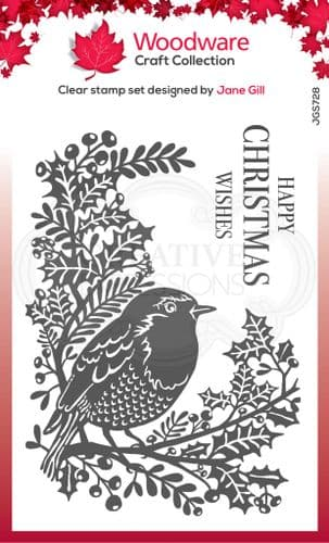 Woodware Clear Singles - Robin and Holly 4 in x 6 in Stamp