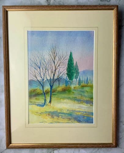 """""""Early Morning Treescape"""" Original Watercolour signed by artist Brooksby"""