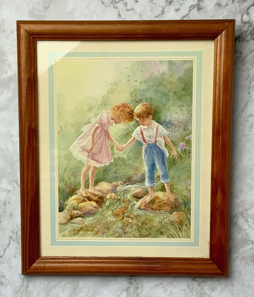 'Holding Hands' Original Print by Gloria Eriksen, Framed.