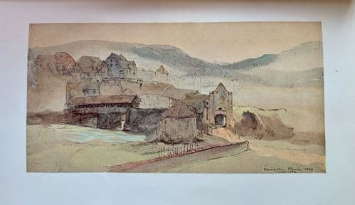 """Rheinfelden Bridge"", From the watercolour by John Ruskin. An original litho print c1900"