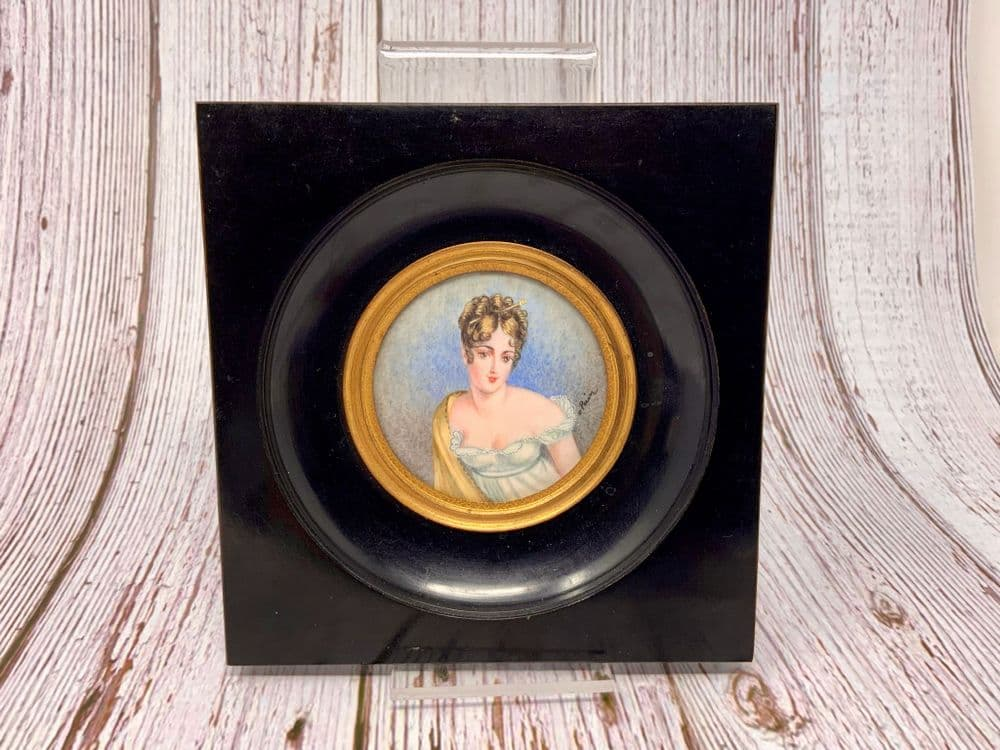 19TH CENTURY HAND PAINTED MINIATURE PORTRAIT ON IVORY BY OLGA PERIN
